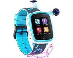 Reloj Inteligente para Niños de 2 Cámaras con Juegos de Música - 1.54 Pantalla Táctil en Color SOS Relojes Inteligentes Llama