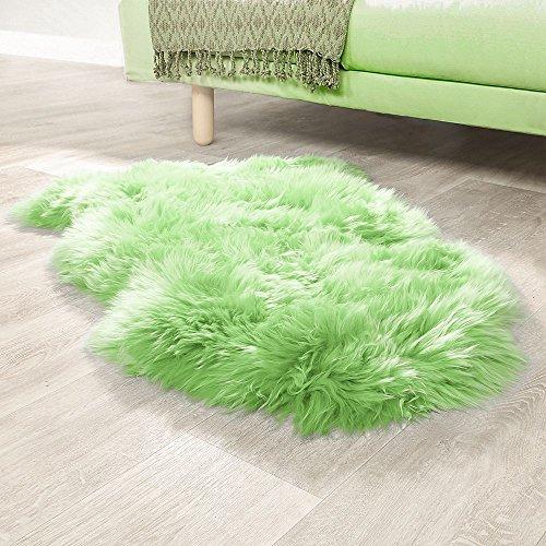 Paco Home Australisches Lammfell Naturfell Bettvorleger Echtes Schaffell In Apfel Grün, Grösse:100x68 cm