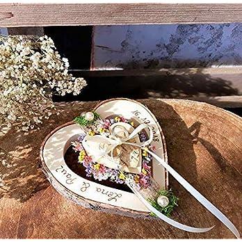 Ringkissen Herz Holzherz mittig Mille Fleurs Mix für Eheringe mit Namen Hochzeit