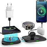 AICase Chargeur sans Fil Magnétique, 4 en 1 Chargeur Induction Compatible avec Mag Safe Chargeur,15W Station de Charge pour i
