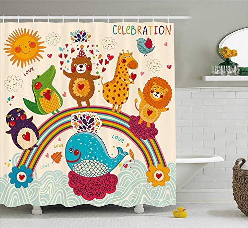 BUZRL Birthday Decorations for Kids Shower Curtain, Hand Drawn Tropic Wild Animals and Whale on a Rainbow Image, Fabric Bathroom Decor Set with Hooks, 60 * 72inchs Long, Multicolor
