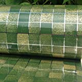 Mosaik-küche Öl aufkleber,Folie papier dekorfliesen glas wasserdicht selbstklebende wandsticker hochtemperatur aluminium folie aufkleber-A 100x45cm(39x18inch)