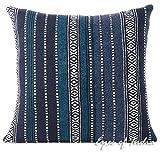 Eyes of India - rot Dhurrie dekorativer Überwurf Sofa Kissenbezug Indisch Boho bunt Bohemian - Blau Schwarz, 20 X 20 in. (50 X 50 cm)
