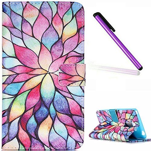 EMAXELERS LG G4 Stylus Hülle Nettes Lächeln Handtuch PU Leder Handy SchutzHülle für LG G Stylo,mit Standfunktion für LG G4 Stylus LS770,Colorfl Lotus