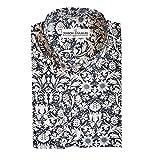 Herren Hemd, 100% Baumwolle, regulŠre Passform, bedruckt mit floralem Paisley-Muster, S M L XL 2XL 3XL 4XL, Kragenweite 37Ð48 cm Gr. XL, Blue White Floral
