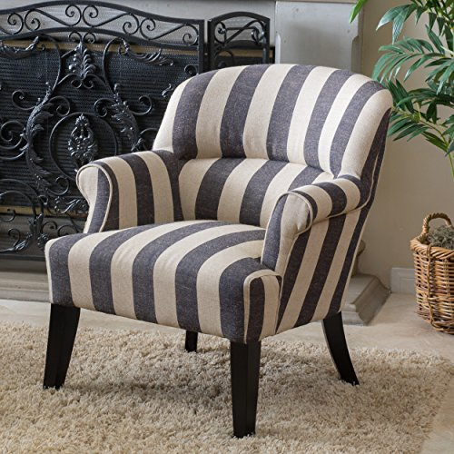 Great Deal Furniture Drew Beige and Slate Grey Stripe Club Chair