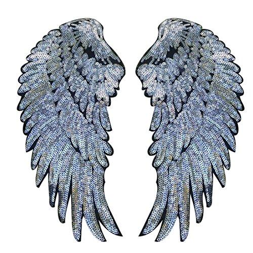Bügelbild Aufbügler Bügeleisen auf Patches Applikation Engel Flügel Muster 1 Paar weiß ()
