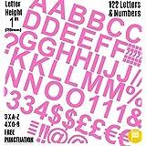 """Profesional juego de 122unidades x 1""""(2.5cm) autoadhesivas color rosa letras y números pegatinas libre signos de puntuación Washproof grandes letras SignWriting cualquier proyecto a prueba de agua"""