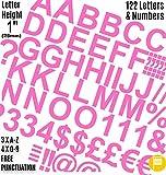 Profi-Pack von 122PCS X 2,5cm (2,5cm) Selbstklebendes Pink Buchstaben und Zahlen Aufkleber gratis Interpunktion waschfest, große Beschriftung gebärdenschrift Wasser Proof jedes Projekt