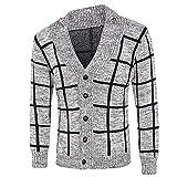 Manadlian Männer Winter Warm Sweatshirt Mode Plaid Stricken Tasten Strickjacke Mantel Jacke