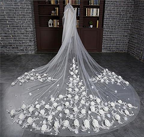 GZQ Mariée Voile de mariage Cathédrale Longueur Tridimensionnelle Rose fleurs Lace edge 3.5M