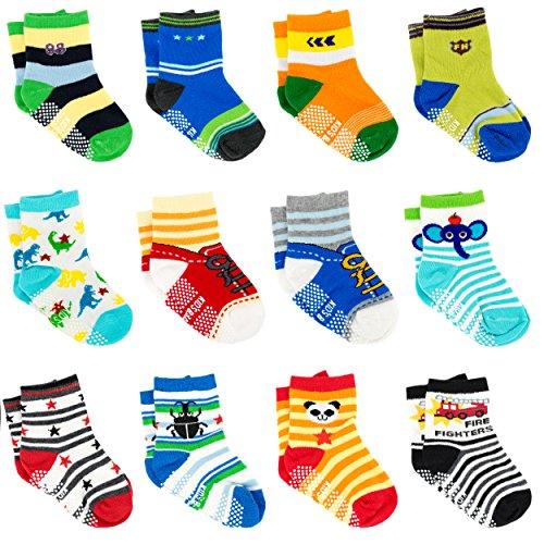 Ateid 12 Paar Baby Jungen Socken Stoppersocken mit Antirutsch-Noppen