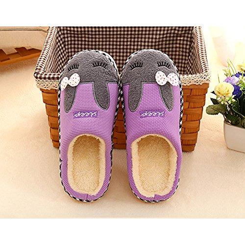 SAGUARO® Automne Hiver Pantoufles Coton Peluche Chaussons Doublure Intérieure Douce Mules Femme Homme Accueil Slippers Chaussures Violet