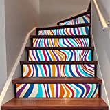 Frolahouse Bunte Streifen Treppenaufkleber, 3D kreative Treppe Aufkleber, selbstklebende abnehmbare wasserdichte Treppe Wandbilder Wallpaper Aufkleber für Treppenhaus oder Inneneinrichtungen - 6 PCS / SET