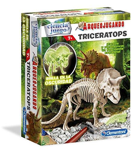 Ciencia y Juego - Arqueojugando Triceratops fluorescente, juego educativo (Clementoni 550319)
