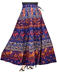 Printed Cotton Long Skirt For Women With Elastic Band (Free Size)
