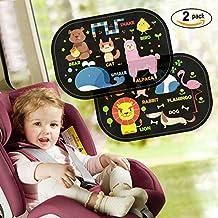 2Pcs Parasoles para Coche, Safe&Care Quitasol Trasero para Ventana Lateral de Auto Resistencia 97% de los Rayos UV y la Reflexión de Luz de Sol Protección UPF 50+ para Bebé, Niños, Mascotas, con Bolsa de Almacenamiento (Animales)