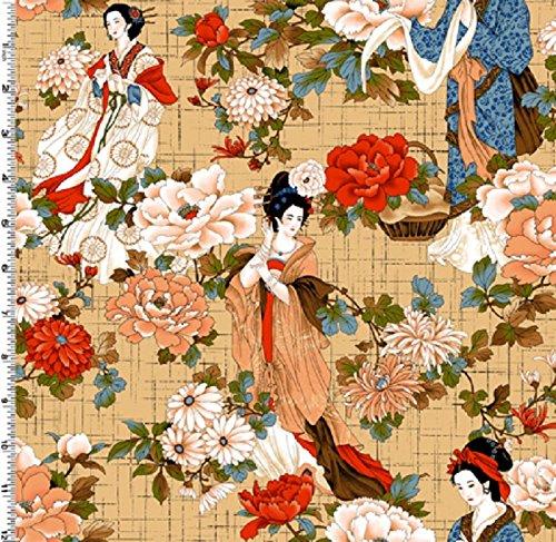 Fat Quarter Crane Dynasty Geisha Tan, Bay, Kona-Baumwolle -