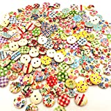 Bismarckbeer bottoni in legno rotondi colore misto 2 fori per fai da te, cucito, scrapbooking, 100 pezzi