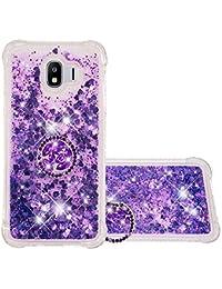 Funda Samsung Galaxy J4 (2018) TPU Silicona Purpurina Carcasa,Funda para teléfono móvil de Arena movediza líquida en con Base de Anillo de Diamantes (Púrpura)