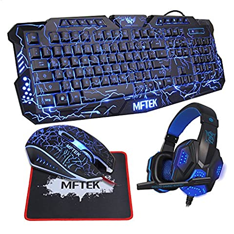 MFTEK USB Wired LED 3 Farben Backlit Gaming Tastatur (Deutsch Layout) + LED Optische USB Verkabelt Gaming-Maus + LED-Backlit Gaming Headphone Kopfhörer für PC Gamer