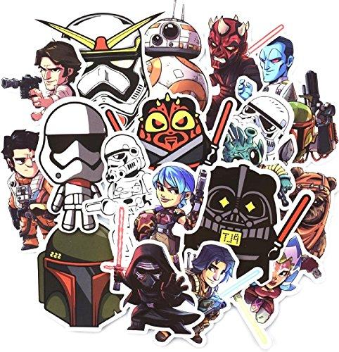 shopiseller Aufkleber Star Wars Vinyl (50 Stuck), Aufkleber 50pcs Sticker Graffiti für Auto/Fenster/Wand/Laptop Sticker Bomb Star Wars Sticker Aufkleber Trooper Darth Vader Comic Film