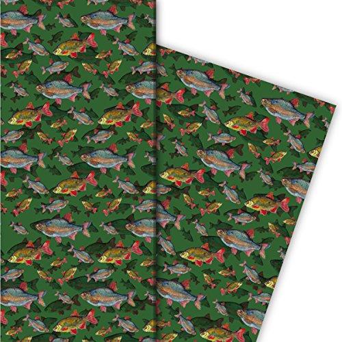 Edles Geschenkpapier Set (4 Bogen)   Dekorpapier mit Fischen unter Wasser für liebe Geschenkverpackung zur Taufe, Geburt, Ostern, Geburtstag, Hochzeit, Weihnachten u.v.m. 32 x 48cm, auf grün