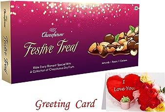 Chocofarm (Festive Treat) Chocolate Coated Roasted Almond,Raisins,Cashews,Raisins,Cashews Chocolate - 110 Grams   (1) Greeting Card  