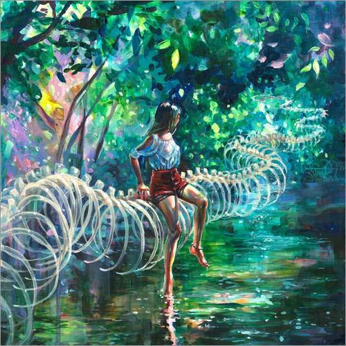 Posterlounge Acrylglasbild 13 x 13 cm: Dopamin Dschungel von Tanya Shatseva - Wandbild, Acryl Glasbild, Druck auf Acryl Glas Bild