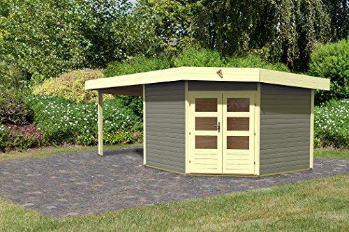 Karibu Gartenhaus Corner Cube 2 mit Anbau 300 cm terragrau inkl. EPDM-Folienset