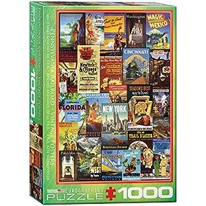 """Eurographics """"Anuncios del Vintage del ferrocarril de Puzzle (1000 Piezas, Multi-Color)"""