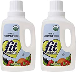 Fit Organic Pack of 2 32 Oz Soaker Produce Wash Fruit and Vegetable Wash and PesticideWa