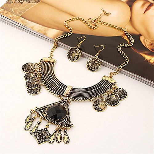 HYHAN SET DE MONEDAS EXAGERADA RETRO COLLAR DE GARGANTILLA   ANTIQUE GOLD + BLACK