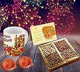 #8: Happy Diwali Superior quality ceramic Mug Capacily (350) ML , Greeting Card, Hand Made Diya and Dry fruits by Aart Store