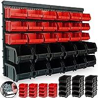 Estantería de bricolaje para pared   32 Piezas   Organizador de herramientas   Portaherramientas estático para taller   30 Cajas apilables (12 negras / 18 rojas)   2 planchas