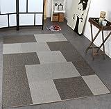 PHC Teppich Modern Flachgewebe Kariert Sisal Optik Designer Teppich Grau Töne, Grösse:120x170 cm