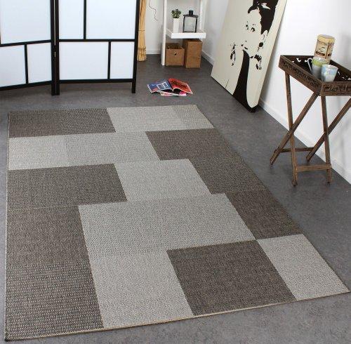 Paco Home In- & Outdoor Teppich Modern Flachgewebe Kariert Sisal Optik Grau Töne, Grösse:80x200 cm