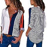 DAY.LIN Langarmshirt Damen Womens Casual Langarm Farbblock Streifen Button T Shirts Tops Bluse Farbe Streifen Lange Ärmel Knopf Hemd Oben (Multicolor, EUXXS/S)
