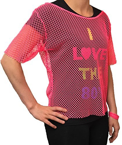 Ladies Pink 80s Mesh Fishnet Top, many colours - sizes 6 to 20