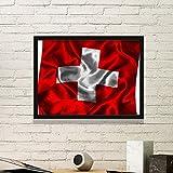 DIYthinker Silk Beschaffenheit Schweiz Zusammenfassung Flagge Muster Einfache Bilderrahmen Kunstdrucke Malereien Startseite Wandtattoo Geschenk Medium Schwarz