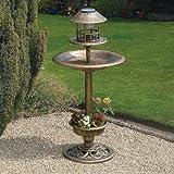 Bird - Copper Effect Solar Bird Bath and Feeding Station - Kingfisher