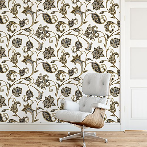 DeStudio Arabic Ornament With Fantastic Flowers And Leaves Wallpaper Tiles (Wall Covering Area : 50cms X 50cms) (Pack of 02)-14083