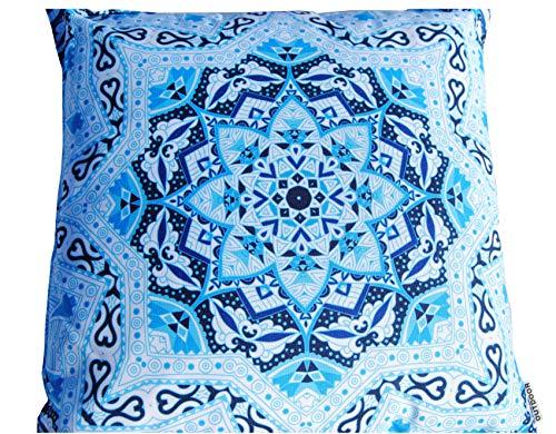 Profisparen Outdoor-Kissen Mandala Grafik-Print 45x45 Dekokissen Sofa Liege Sitzkissen Terrasse Balkon (Kaleidoskop_Blau_Schwarz) -
