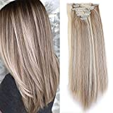 TESS Clip in Extensions wie Echthaar Kunsthaar Haarteil günstig 8 Tressen 18 Clips Haarverlängerung Glatt Honigblond/Blond 26