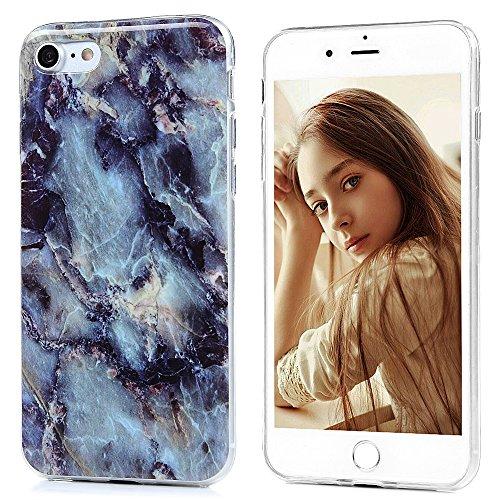 iPhone7 Hülle Case, KASOS iPhone7 Tasche Crytsal Clear Cover TPU Silikonhülle Handycase Backcase Etui Dünn Bunt Gemalt Handyhülle Schutzhülle Blau Marmorieren Blau Marmorieren