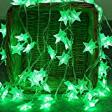 LED Lichterkette,Star Lichterkette Lichterkette Aussen 2M 10 LED Crystal Clear Sterne Fairy String Licht für Weihnachten, Hochzeit, Party, Zuhause sowie Garten, Balkon, Terrasse, Fenster, Treppe, Bar, etc Prevently (Grün)
