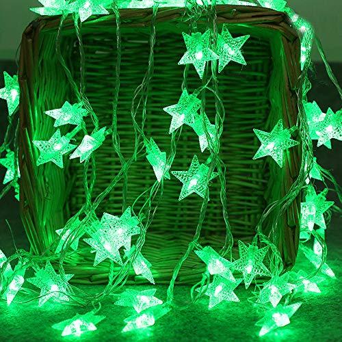 daJJ 2M 10LED Kristallklarer Stern LED Licht Hochzeit Party Weihnachten Weihnachten Halloween Innen/Außen Haus Deko String Lights 3xAA Batterie (Grün) ()