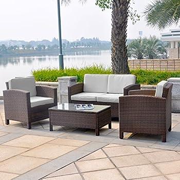 Gartenlounge rattan  Amazon.de: Gartenmöbel Garten Lounge Sitzgruppe Rattan Cannes brown