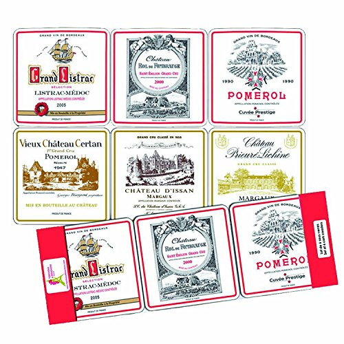 SOUS VERRES SOUS BOCK ETIQUETTES 6 VINS DE BORDEAUX PRESTIGIEUX FRANCE