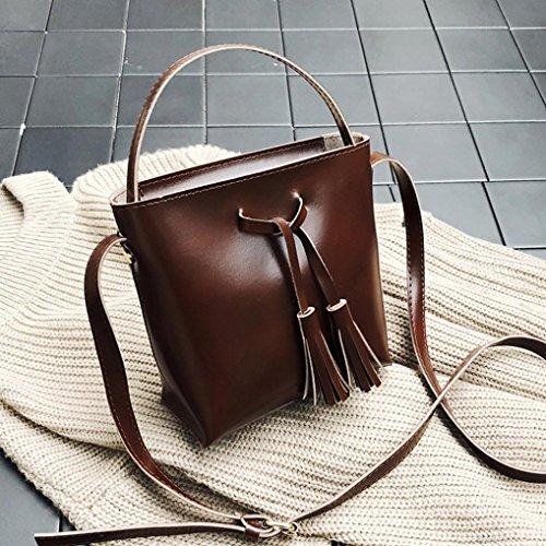 Damen Handtaschen, Huhu833 Frau Tote Vintage Taschen Umhängetasche Leder Quaste Handtasche Schultertasche Rot